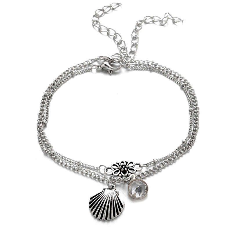 Vintage Antique srebrny kolor bransoletki na nogę kobiet powłoki cekiny koraliki bransoletka geometryczna Charm czeski bransoletka kostki Boho Foot biżuteria