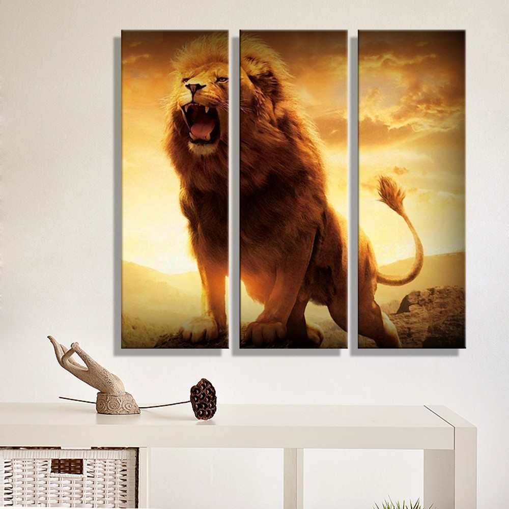 Canvas Painting Abstract Lion Sunset Landscape Wall Art Decoration Home  Decor Wall Pictures For Living Room 3 Panels Unframed In Painting U0026  Calligraphy From ...