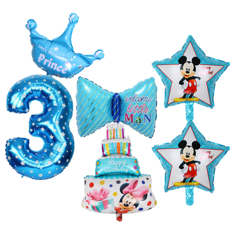 6pcs Kids 3rd Birthday Party Decoration Foil Balloons Number 3