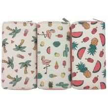 KANDRA Summer New Women Long Wallet Clutch Purse Tropical Fruit Pineapple Print Wallets Card Holder Phone Pouch for Girls Gift