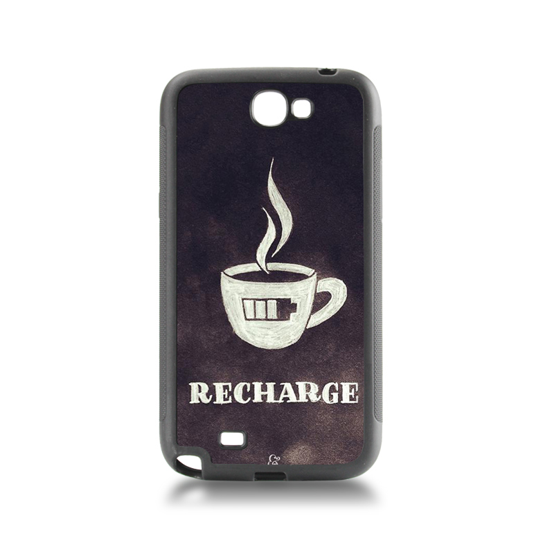 Unique Luxury Lovers tpu soft black phone case Charge coffee low battery For case GALAXY note2 7100