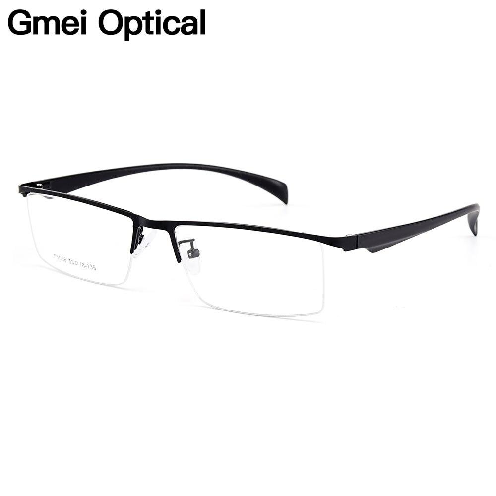 Gmei óptico hombres Semi-sin montura de aleación de titanio gafas ...