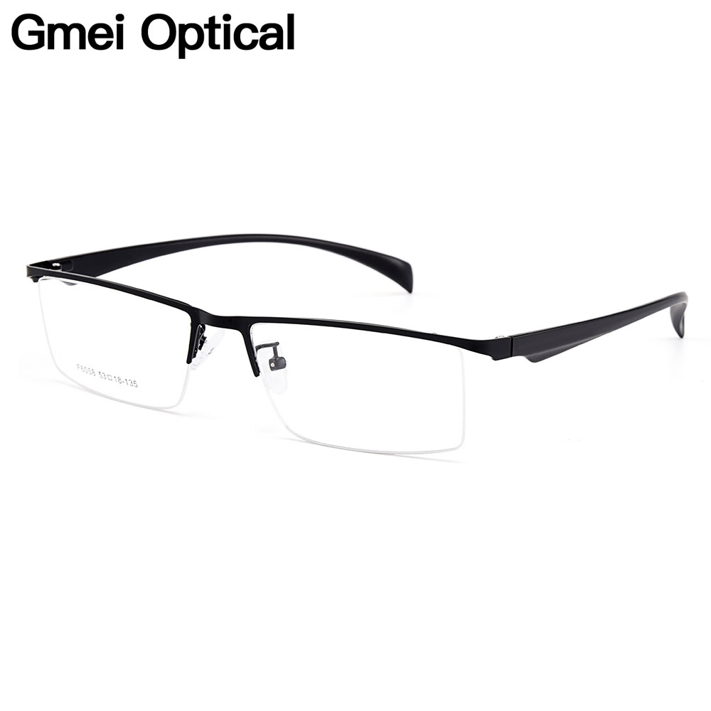 Gmei Optical Men Semi-Rimless Titanium Alloy Glasses Frames For Men Eyewears Flexible Legs IP Electroplating Spectacles Y6058
