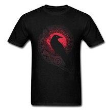 Wholesale Men T-shirt Raven Night T Shirt Tribal Art Design Black Tshirt Cotton Vintage Clothing High Street Tops Tees Crewneck