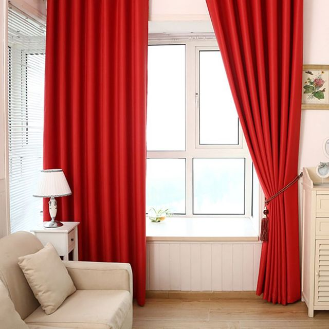 Solid Heavy Thick Panels Foam Blackout Black Red Grommet Window Curtain  Scarves For Home