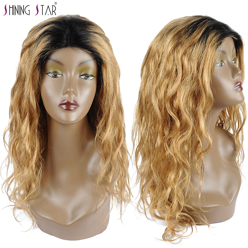 Shiningstar Ombre Honey Blonde Lace Front Wig Human Hair Colored 27 Brazilian Body Wave Wigs For Black Women 150 Density Nonremy
