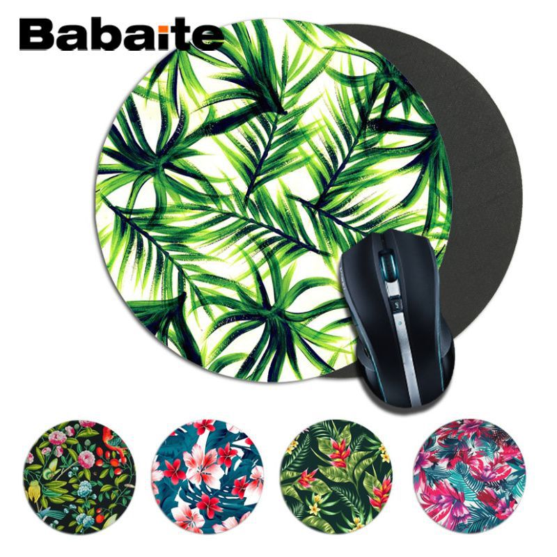 Babaite Custom Skin Flower Green Plant Leaf Print Play Mats Mousepad Size For22*22cm Round Mousepad Rubber Rectangle Mousemats