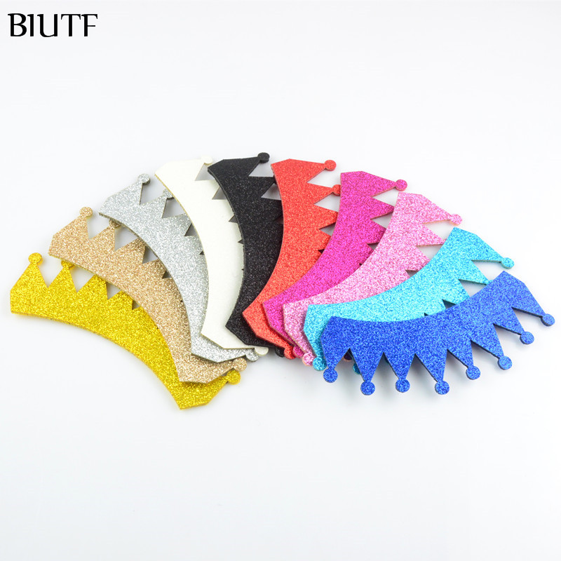 1000pcs/lot Wholesale 3.8*1.2 Inch Glitter Felt Crown Unfinished Diy Supply Hair Accessories 10 Color U Pick Gc01