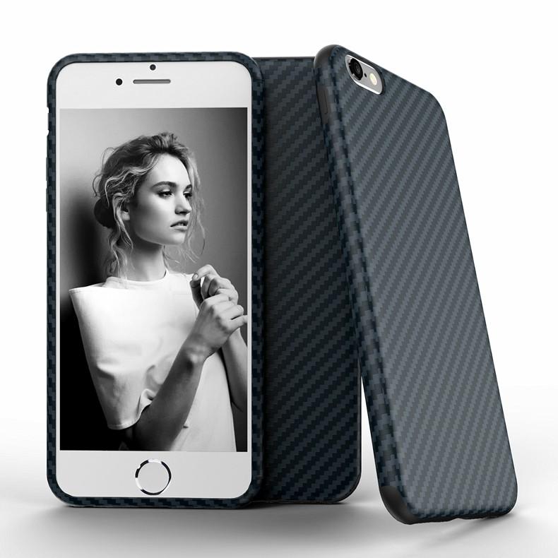 Najnowszy środowiska carbon fiber case dla iphone 6 6s plus miękkie antypoślizgowa anti-puk pokrywy dla iphone 7/plus skóra skóra torba 13