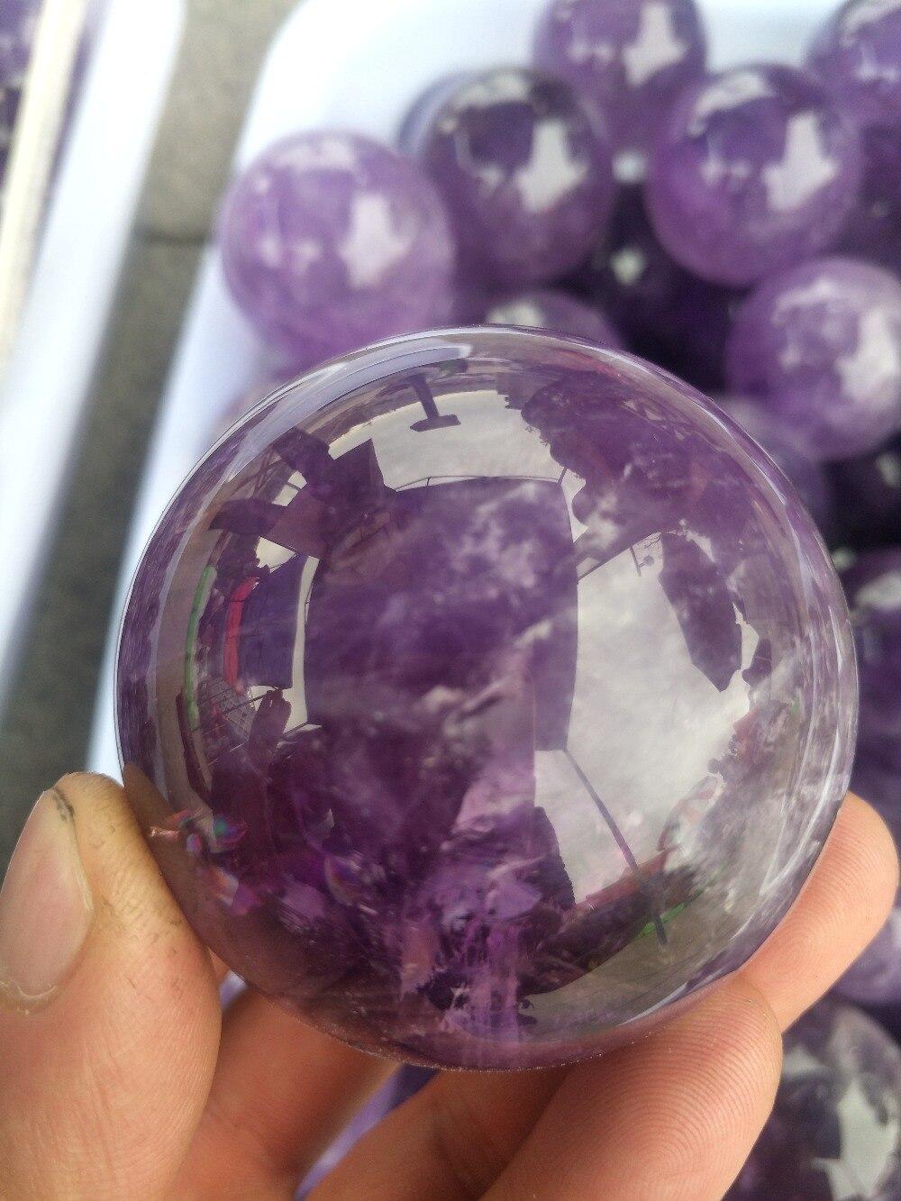 50mm natural amethyst quartz crystal gemstone sphere reiki healing Orb ball Home Decor meditation