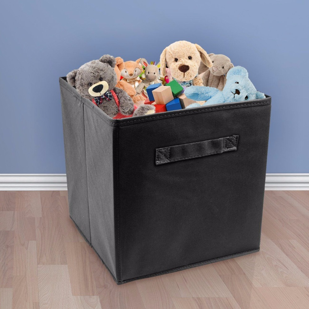 Hot Foldable Fabric Storage Box Cube Bins Cloth Organizer Storage Baskets Folding Nursery Closet Drawer Features Dual Handles