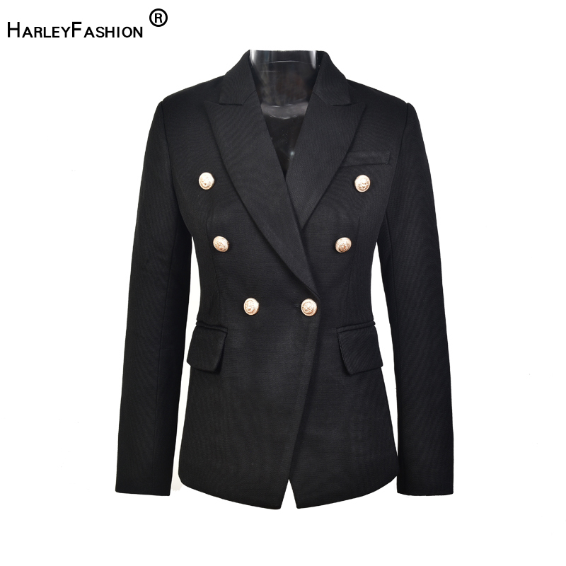 HarleyFashion European Casual Slim fitness Metal Gold Button Jacket White Black Khaki Colors Female Blazer