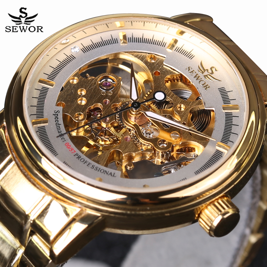 SEWOR Top Brand Luxury Business Men Gold Watches Mechanical Hand Wind Skeleton Watch Full Steel Sports Casual Male Wrist Watch sewor new arrival luxury brand men watches men s casual automatic mechanical watches diamonds hour stainless steel sports watch