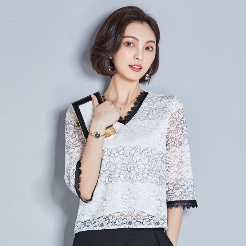 White Lace Solid Tee Middle 3/4 Sleeve Office Ladies Casual Sheer Top 2018 Summer Women Plain Elegant T-shirt Patchwork Blouse