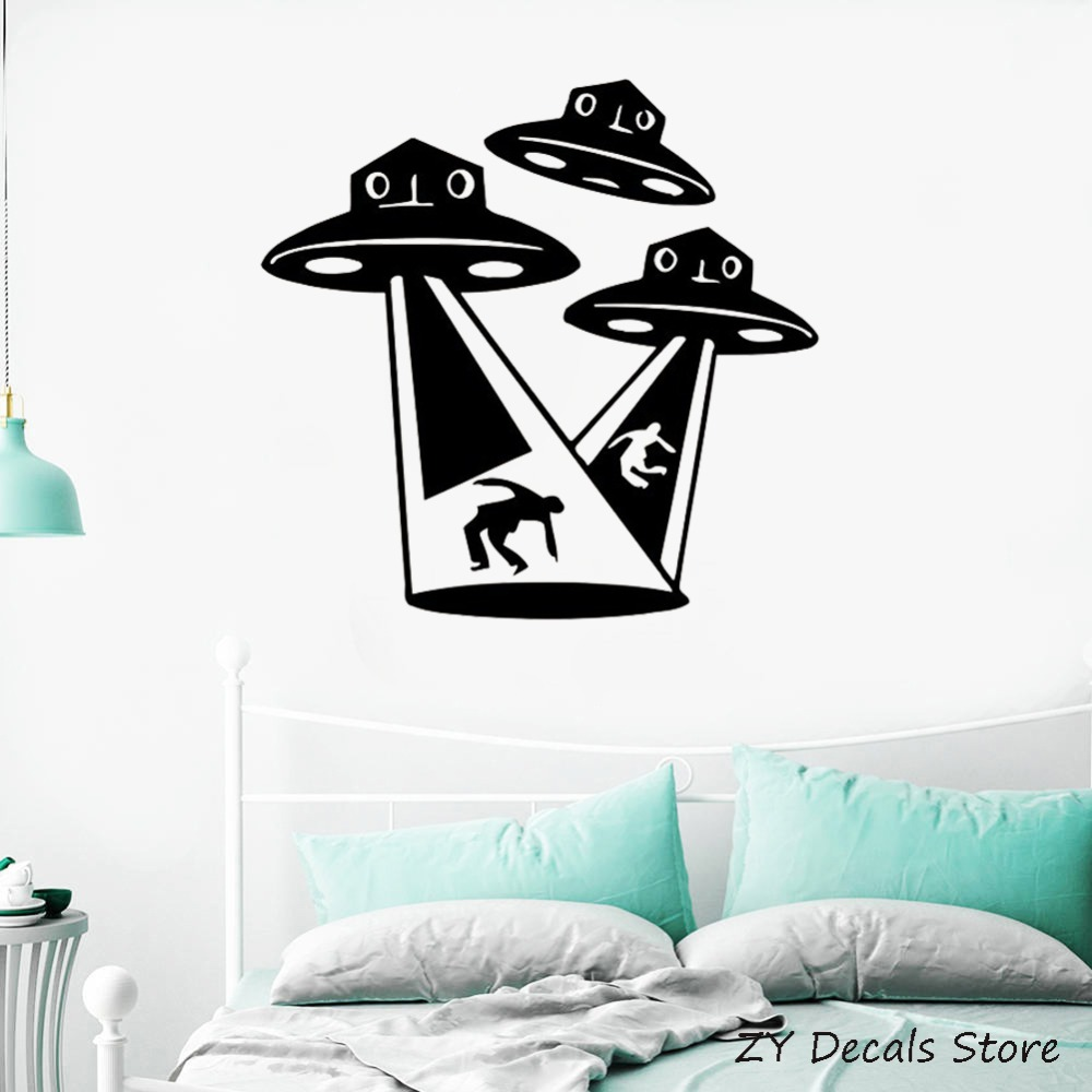 Aliens ufo wall stickers kids room fantasy supernatural for Wall decor outer space