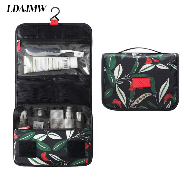 Ldajmw Portable Folding Print Hanging Toiletry Wash Bag Travel Storage Cosmetic Carry Organizer For Traveling