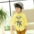 Осень разделе детская мода одежда Корейской версии детских хлопка льняная рубашка мальчика нагрудные модные хлопок рубашки