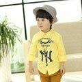 Autumn section children 's fashion  clothing Korean version children' s cotton linen shirt boy 's lapel fashionable cotton shirt