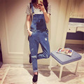 Salopette Women Ladies Stonewash Destroyed Denim Dungarees Jumpsuit Denim Overalls Casual Skinny Girls Jeans Rompers