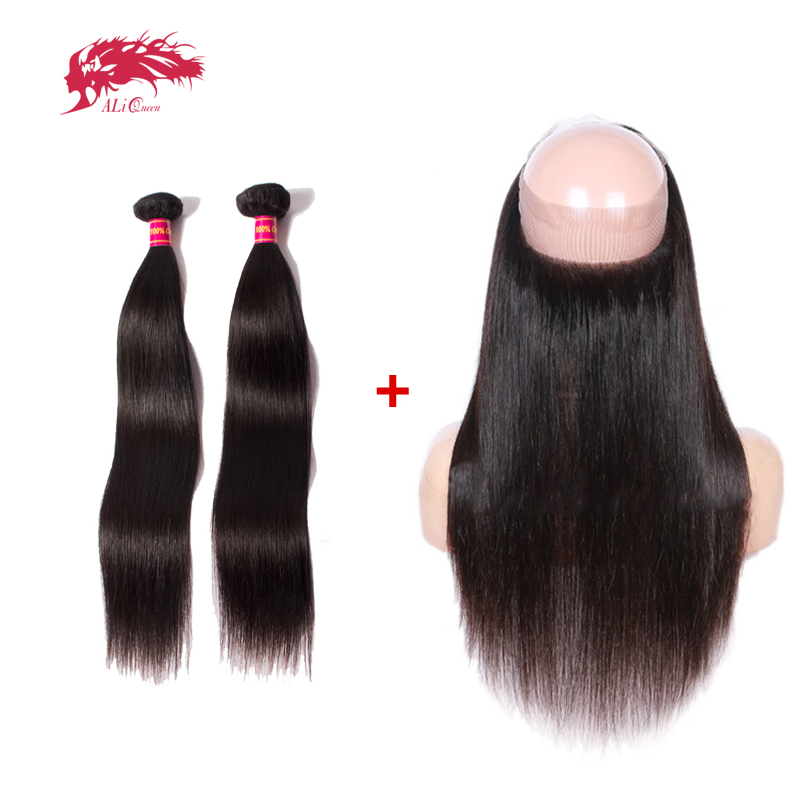 Ali Queen Unprocessed Virgin Brazilian Straight Human Hair 2 Bundles With 360 Lace Frontal Closure Free Part Pre-Plucked Natural