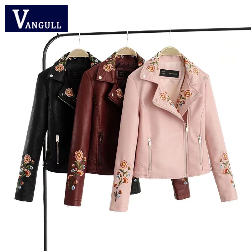 Motor & Biker Autumn Women's Clothing Flower Embroidery Slim Female PU   Leather   Jacket long sleeve Shorts Faux   Leather   Outerwear