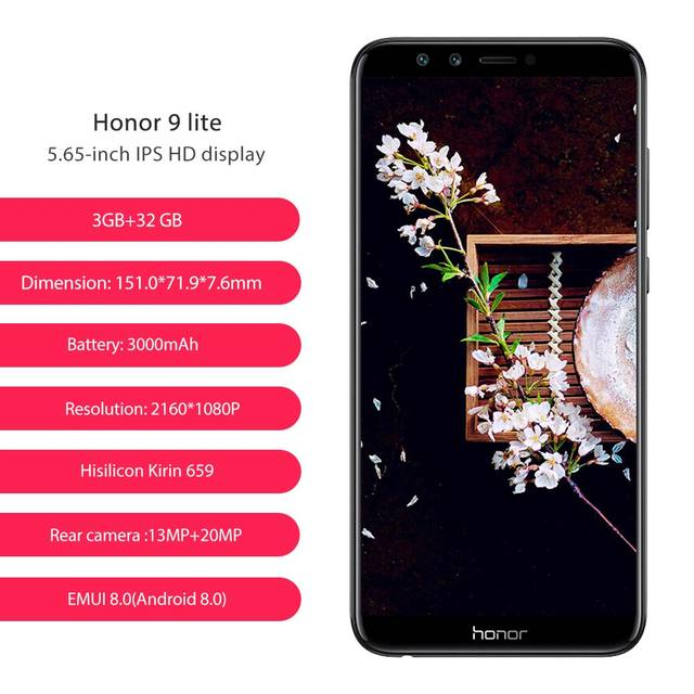 Global Rom Huawei Honor 9 Lite Phone 4 cameras 3000mAh 5.65 1