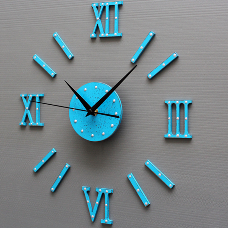 Us 16 19 10 Off Large 3d Diy Wall Clock Blue Antique Style Wood Quartz Clocks Mediterranean Watch Kit Decoration Home For Living Room Bedroom In