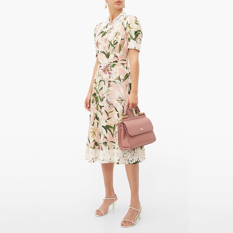 Kadın Giyim'ten Elbiseler'de Yaz 2019 Yeni Zambak Düğmeler Dikiş Suda Çözünür Dantel Kısa Kollu Elbise 190625SL01'da  Grup 1