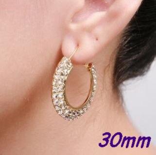 30mm Double Rows Basketball Wives Rhinestone Hoop Earrings Crystal Cubic Zirconia Hoop Earrings