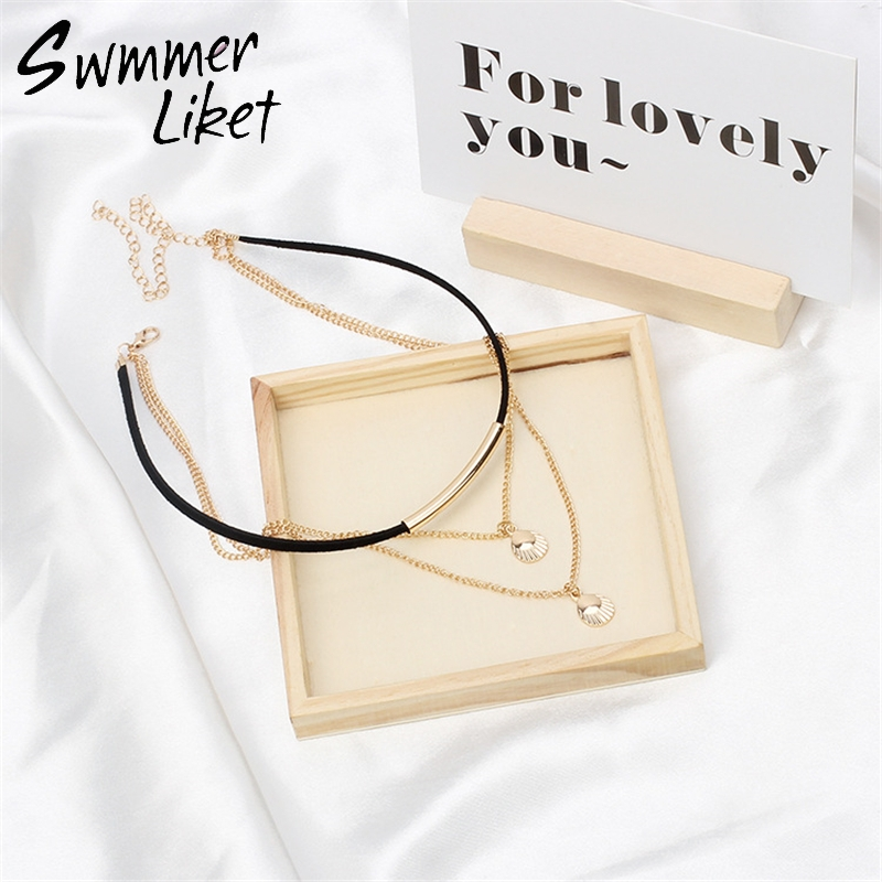 Free Shipping New Fashion Holiday Seaside Gold Color Chain Necklace Multi Layer Choker Necklace For Women Collar Collier Femme