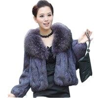 Зимнее пальто женская одежда 2018 натуральное пальто с мехом кролика пальто с мехом енота собака меховой воротник Корейская куртка Тонкий По