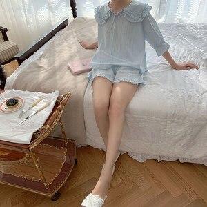 Image 2 - קיץ נשים של לוליטה נסיכת פיג מה סטים. חולצות + מכנסיים קצרים. בציר גבירותיי ילדה של תור למטה צווארון פיג סט. הלבשת Loungewear