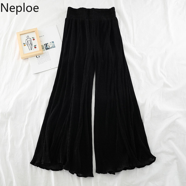 Neploe Ruffle Women Pants Beach Patchwork Mesh Wide Leg Pants See Through High Waist Trousers White Black Trouser Pantalon 39453