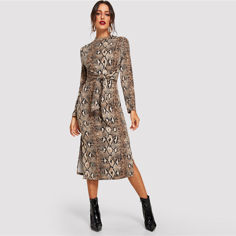 COLROVIE Mock Neck Snake Print Split Long Sleeve Sexy Dress Women Autumn Streetwear Party Dress Bodycon Casual Midi Dresses 12
