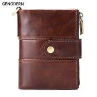 GENODERN модный новый мужской кошелек на двойной молнии мужской кошелек с держателем для монет из натуральной кожи кошелек для мужчин