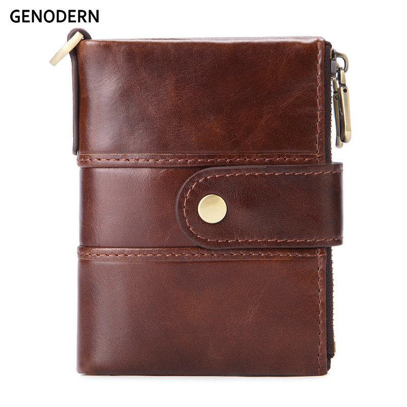 GENODERN Fashion New Men Wallet Double Zipper Male Purse with Coin Card Holder Genuine Leather Wallet for Men