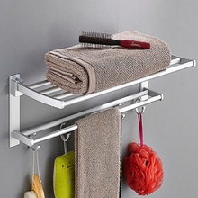Free punching towel rack folding activity double layer space aluminum bathroom towel rack bathroom shelf pendant wholesale