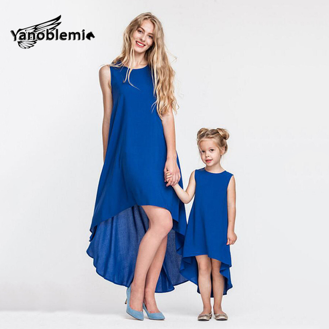 Matching Mother Daughter Clothes Summer Solid Sleeveless Irregular Dresses Girls Blue Robe Dress Mommy And Me Family Clothing