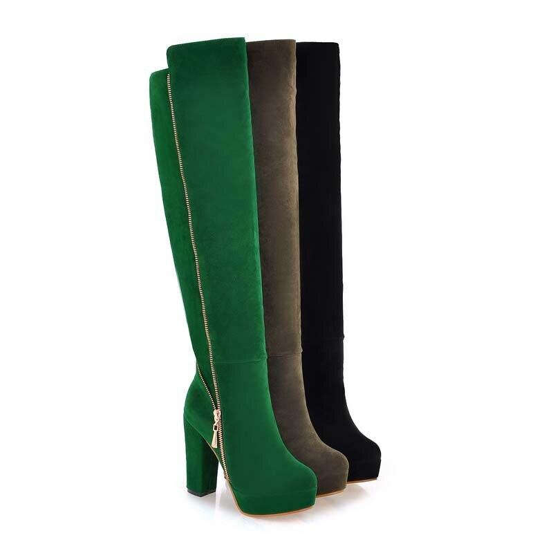 を ENMAYER ホット女性のオーバーニーハイブーツファッションチェーンウォームフロック靴ハイヒールプラットフォームブーツビッグ Size34 43 雪ブーツ  グループ上の 靴 からの ニーハイブーツ の中 3