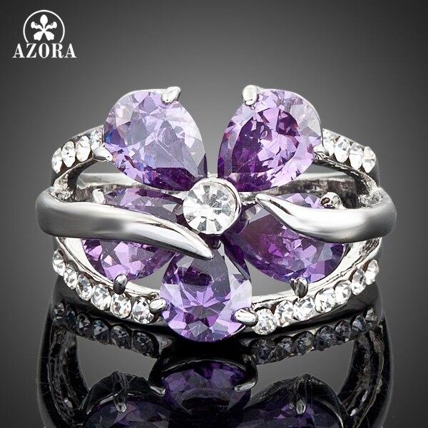 AZORA White Gold Color Stellux Austrian Crystal Purple Flower Design Cubic Zirco