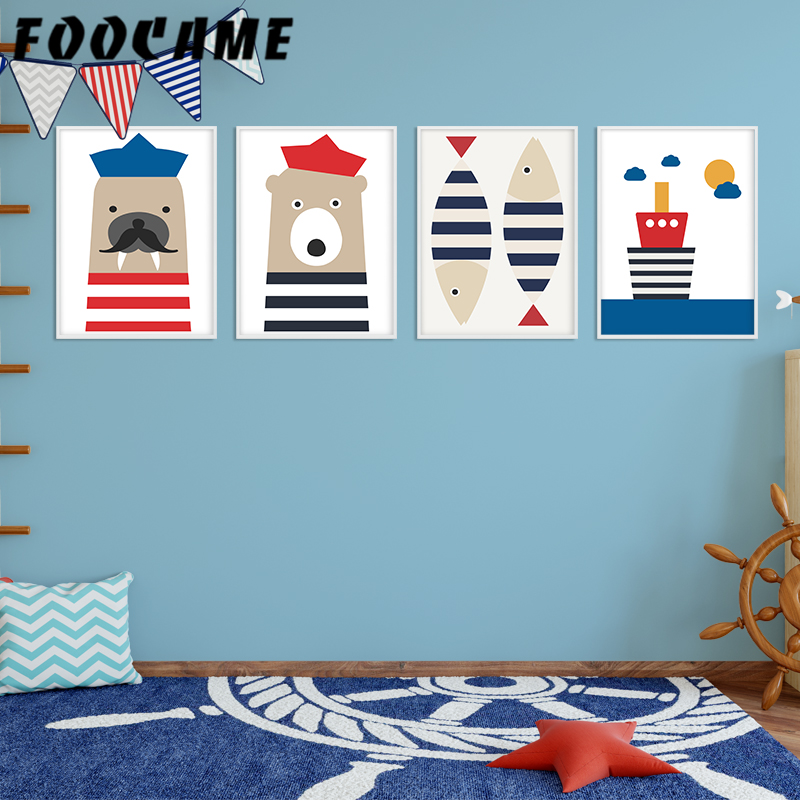 FOOCAME Cartoon Sailor Seals Bear Fish Boat Poster Nordic Wall Art Print Lienzo Pintura Decoración Fotos Habitación infantil Nursery