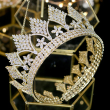 High quality vintage CZ round gold crown luxury wedding tiara bridal hair accessories wedding dress accessories