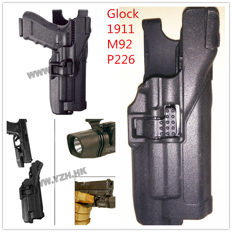 Army Military Equipment Airsoft Paintball Pistol Gun Holster Combat Tactical Black hawk Level 3 Holster for Glock 1911 M92 P226