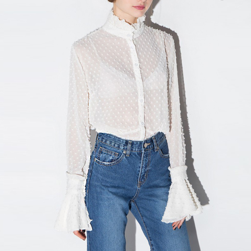 HDY Haoduoyi Autumn 2019 Womens Summer Sexy Lace Hollow Out Sheer Flare Sleeve Buttons Blouses Shirts Casual Solid Femme Girl in Blouses amp Shirts from Women 39 s Clothing