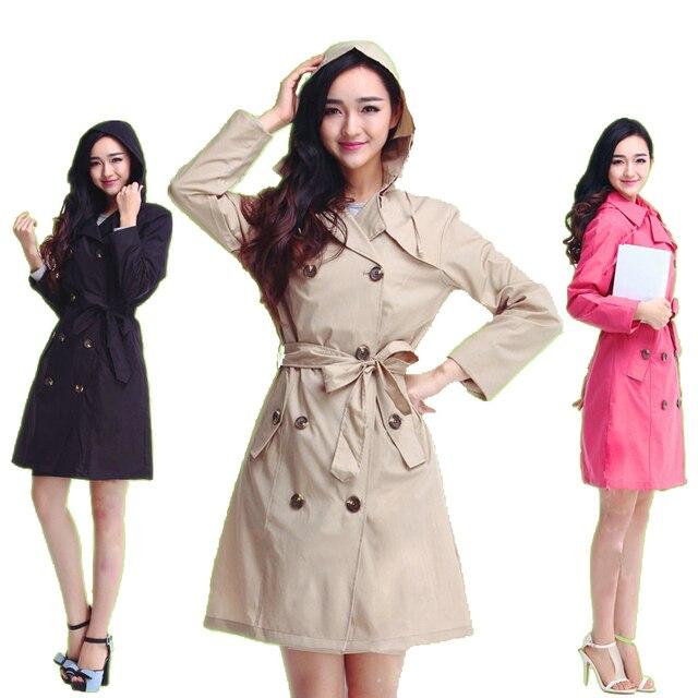 1e9072ec05377 2018 جديد أزياء ماركة أزياء كبير الحجم المرأة رقيقة السيدات للماء طويل نحيف  المعطف الكبار المطر