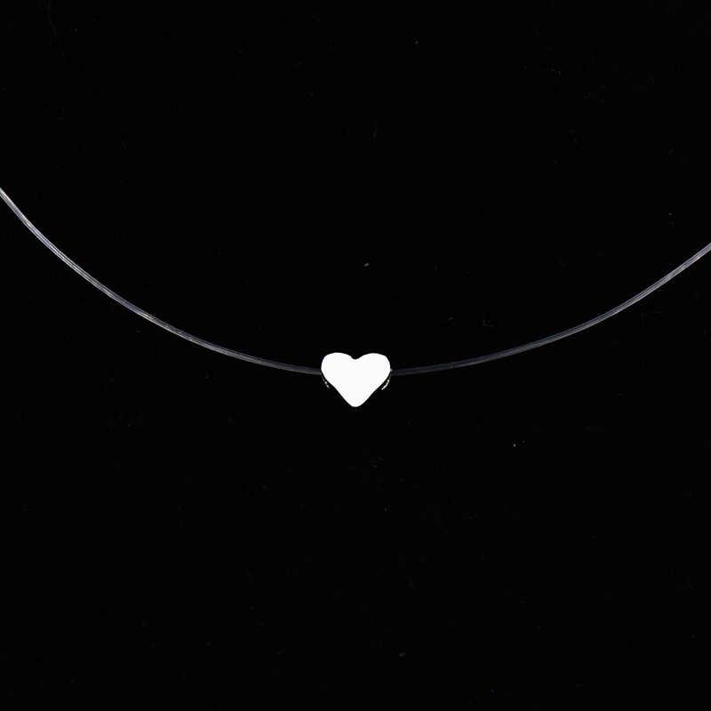 女性透明釣り糸ネックレス見えないチェーンネックレスペンダントラインストーンチョーカーネックレスファム