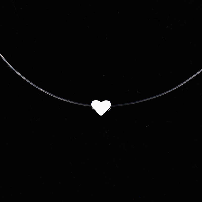 Women Transparent Fishing Line Necklace Invisible Chain Necklaces pendants Rhinestone Choker Necklaces Collier Femme