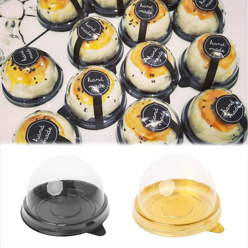 Wedding Party Favor Boxes 50 G Moon Cake Egg-Yolk Puff Holder 50 Piece Mini Round Moon Cake Container Trays Packaging Box Holder