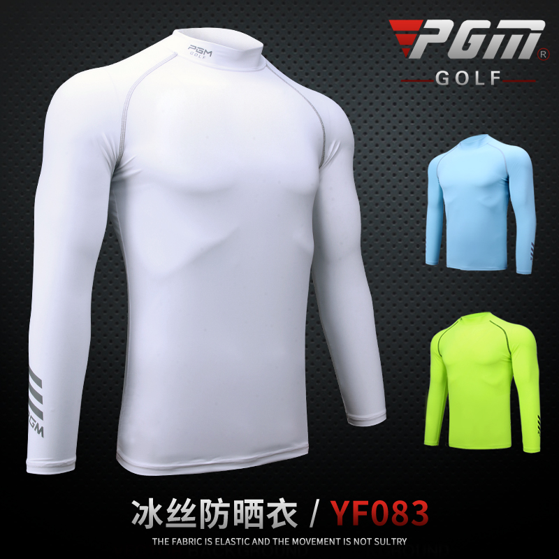Mens Golf Summer Underwear Shirt Ice Tights Long Sleeve T Shirt UV Protection PGM Mens Golf Clothing