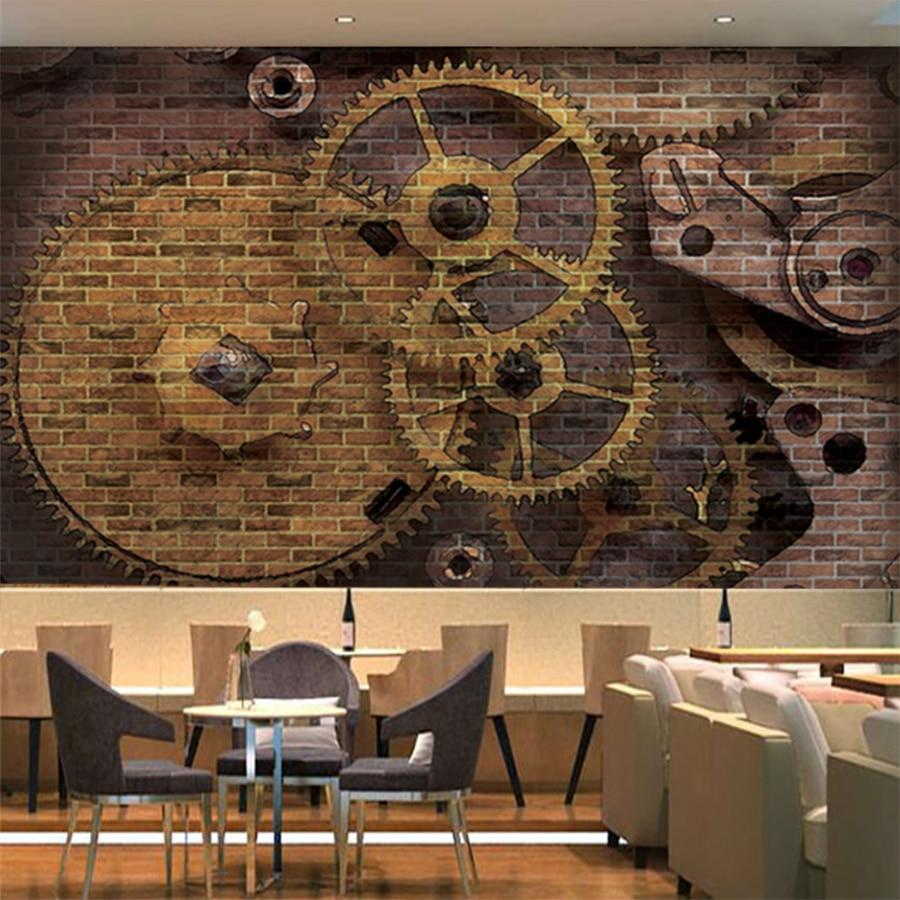 Kustom Foto Wallpaper 3D Stereo Gigi Mekanik Dinding Bata